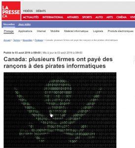 Article la presse Canada plusieurs firmes ont payé des rançons